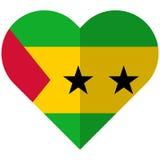 Sao Tome and Principe flat heart flag Royalty Free Stock Photo