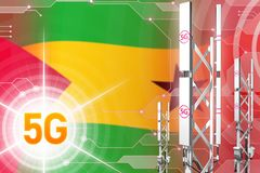 Sao Tome and Principe 5G industrial illustration, huge cellular network mast or tower on modern background with the flag - 3D. Sao Tome and Principe 5G network vector illustration