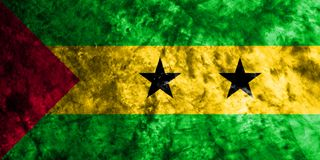 Sao Tome and Principe grunge flag on old dirty wall.  Royalty Free Stock Photos