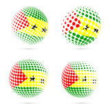 Sao Tome and Principe halftone flag set patriotic. Sao Tome and Principe halftone flag set patriotic vector design. 3D halftone sphere in Sao Tome and Principe Royalty Free Stock Image