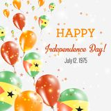 Sao Tome and Principe Independence Day Greeting. Sao Tome and Principe Independence Day Greeting Card. Flying Balloons in Sao Tome and Principe National Colors Stock Photography