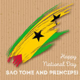 Sao Tome and Principe Independence Day Patriotic. Sao Tome and Principe Independence Day Patriotic Design. Expressive Brush Stroke in National Flag Colors on Stock Images