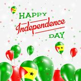Sao Tome and Principe Independence Day Patriotic. Sao Tome and Principe Independence Day Patriotic Design. Balloons in National Colors of the Country. Happy Royalty Free Stock Photos