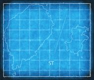 Sao Tome and Principe map blue print illustration silhouette. Art Royalty Free Stock Photography