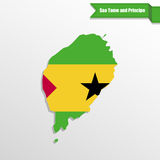 Sao Tome and Principe map with flag inside and ribbon Royalty Free Stock Image