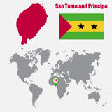 Sao Tome and Principe map on a world map with flag and map pointer. Vector illustration Royalty Free Stock Images