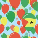 Sao Tome and Principe National Day Flat Seamless. Sao Tome and Principe National Day Flat Seamless Pattern. Flying Celebration Balloons in Colors of Sao Tomean Royalty Free Stock Photos