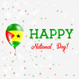 Sao Tome and Principe National Day patriotic. Sao Tome and Principe National Day patriotic poster. Flying Rubber Balloon in Colors of the Sao Tomean Flag Stock Image