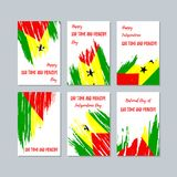 Sao Tome and Principe Patriotic Cards for. Sao Tome and Principe Patriotic Cards for National Day. Expressive Brush Stroke in National Flag Colors on white card Stock Photos