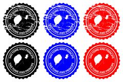Sao Tome and Principe rubber stamp. Sao Tome and Principe - rubber stamp - vector, Sao Tome and Principe map pattern - sticker - black, blue and red Stock Image