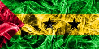 Sao Tome and Principe smoke flag. São Tomé and Príncipe smoke flag on a black background Royalty Free Stock Image