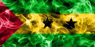 Sao Tome and Principe smoke flag. Isolated on a black background Stock Photography