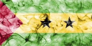 Sao Tome and Principe smoke flag. Isolated on a white background Stock Photos
