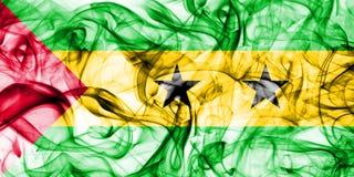 Sao Tome and Principe smoke flag. On a white background Stock Photo