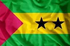 Sao Tome And Principe. Stylish waving and closeup flag illustration. Perfect for background or texture purposes royalty free illustration