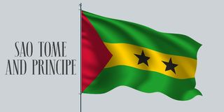 Sao Tome and Principe waving flag on flagpole vector illustration. Yellow green stripes of Sao tome and Principe wavy realistic flag as a symbol of country Royalty Free Stock Images