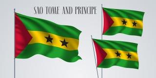 Sao Tome and Principe flag vector. Sao Tome and Principe waving flag set of vector illustration. Red yellow green colors of Sao Tome wavy realistic flag as a Stock Image
