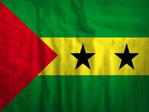 Sao- Tome und Principegewebeflaggen-Hintergrundbeschaffenheit Lizenzfreie Stockbilder