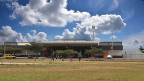 Sao Tomean kids playing football in front of the international airport Stock Photography