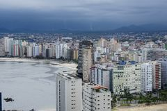 Sao Vicente beach town. In the state of sao paulo brazil building sea royalty free stock image