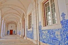 LISBON, PORTUGAL - NOVEMBER 5, 2017:  Sao Vicente de Fora Church in Alfama neighborhood, the cloister decorated with blue tiles A. Sao Vicente de Fora Church in Royalty Free Stock Photo