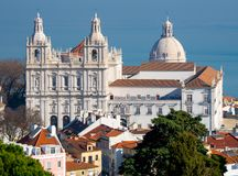 Sao Vicente monastery aerial view, Lisbon, Portugal stock photography