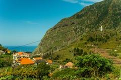 Sao Vicente mountain village view (2). Typical mountain village view of Madeira, Portugal. Mountains, hills, coast, Atlantic ocean royalty free stock image