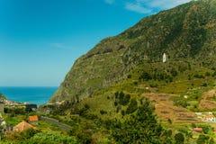 Sao Vicente mountain village view. Typical mountain village view of Madeira, Portugal. Mountains, hills, coast, Atlantic ocean royalty free stock photo
