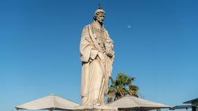 Sao Vincente statua w Miradouro das Portas robi zolu punktowi widzenia, Lisbon, Portugalia Fotografia Royalty Free