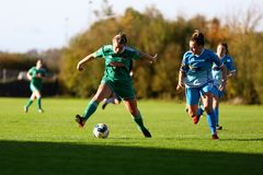 Saoirse Noonan during the Women`s National League match between Cork City FC Women and Peamount United. October 28th, 2018, Cork, Ireland: Saoirse Noonan during royalty free stock photography