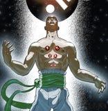 Saolin Mink. Imaginary Shaolin Monk, having some kind of revelation vector illustration