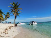 Saona island, Dominican republic Beach, bayahibe, resort. Dominican republic beach bayahibe resort, island of hispaniola vacation in exotic paradise, cloudy sky stock photos