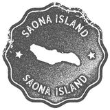 Saona Island map vintage stamp. Retro style handmade label, badge or element for travel souvenirs. Grey rubber stamp with island map silhouette. Vector Stock Images