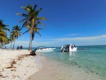 Saonaeiland, het Strand van de Dominicaanse republiek, bayahibe, toevlucht stock foto's