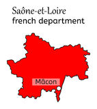Saone-et-Loire french department map Royalty Free Stock Images