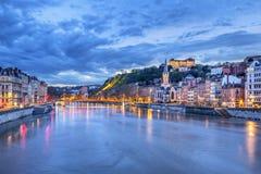 Saone River в городе Лиона Стоковое Изображение