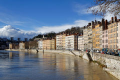 Saone river banks in Lyon Stock Photo