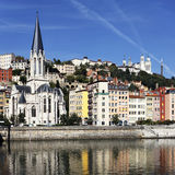 Saone river and church Stock Photos