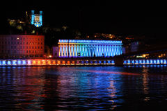 Saone river during Festival of Lights Royalty Free Stock Photography