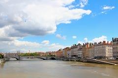 Saone River Lyon, Frankrike Royaltyfri Bild