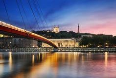 Saone River Lyon, Frankrike Royaltyfria Bilder