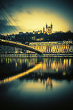 Saone river at Lyon by nigh Royalty Free Stock Photo