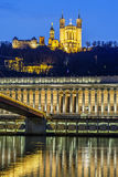 Saone river at Lyon by night Stock Images