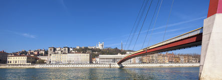 Saone river at Lyon with red footbridge Royalty Free Stock Photo