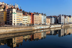 Saone River in the morning light Royalty Free Stock Images