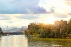 Saone River och Barbe ö Lyon Frankrike Royaltyfria Foton