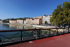 Saone river from a pedestrian bridge Stock Images