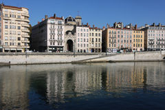Saone river quay Stock Photography