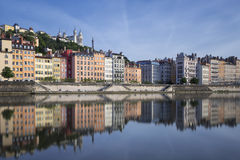 Saone river and reflection Stock Images