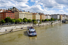 Saone River Sightseeing Boat, Lyon France Royalty Free Stock Photography